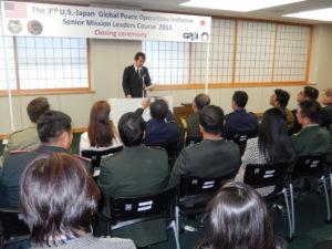 2013年11月22日 日米共催第3回国連平和維持活動(PKO)幹部要員訓練コース(GPOI SML) 閉講式